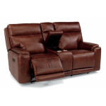 Sienna Leather Power Reclining Loveseat w/Console & Power Headrests