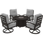 Round Fire Pit Table and 4 Chairs